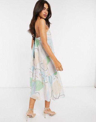 Eleganti pantaloni Multicolore donna Prendisole peplo midi allacciato al collo in popeline di cotone con stampa astratta e spalline a contrasto - ASOS DESIGN - Multicolore