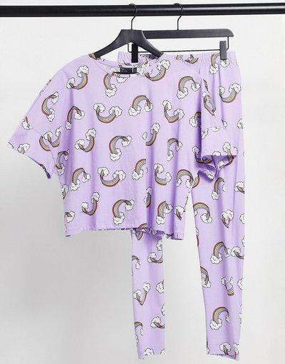 Pigiami Viola donna Pigiama lilla con T - shirt e leggings - ASOS DESIGN - Rainbow - Viola