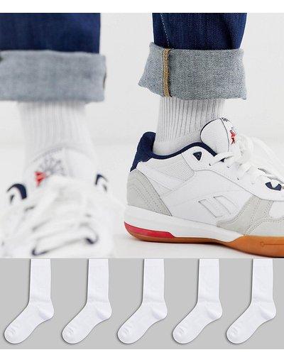 Intimo Bianco uomo Risparmia con confezione da 5 paia di calzini sportivi bianchi - ASOS DESIGN - Bianco
