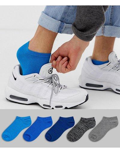 Intimo Blu uomo Risparmia con confezione da 5 paia di calzini sportivi puntinati blu e grigi - ASOS DESIGN