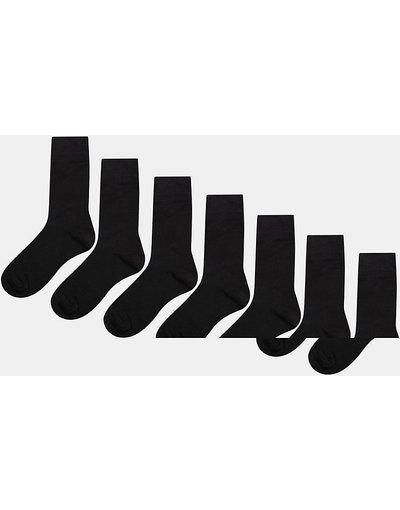 Calze Nero uomo Risparmia con confezione da 7 paia di calzini alla caviglia neri - ASOS DESIGN - Nero