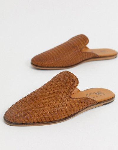 Scarpa elegante Cuoio uomo Sabot a mocassino in pelle intrecciata color cuoio - ASOS DESIGN