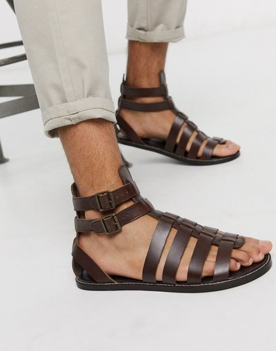 Sandali Marrone uomo Sandali gladiatore in pelle marrone - ASOS DESIGN
