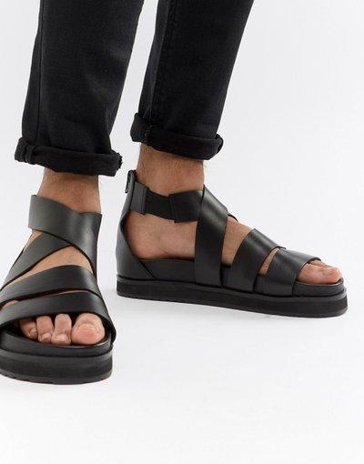 Sandali Nero uomo Sandali gladiatore in pelle nera con suola spessa - ASOS DESIGN - Nero