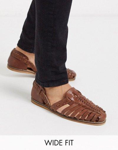 Sandali Cuoio uomo Sandali pianta larga in pelle color cuoio - ASOS DESIGN