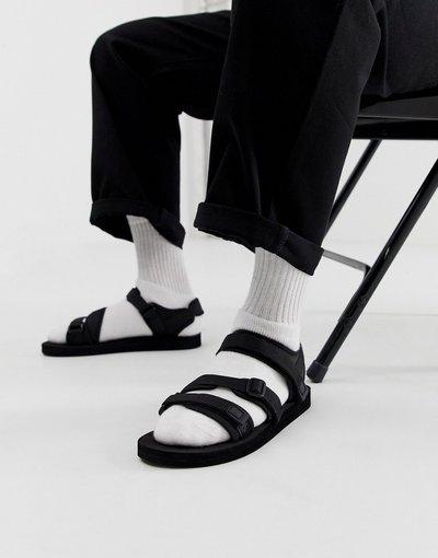 Sandali Nero uomo Sandali tecnici neri con listini a fettuccia - ASOS DESIGN - Nero