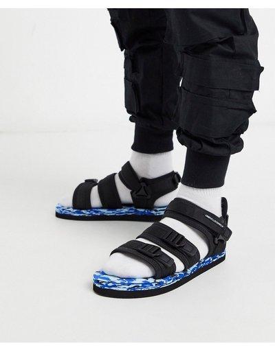 Sandali Nero uomo Sandali tecnici neri con suola in colore pop - ASOS DESIGN - Nero