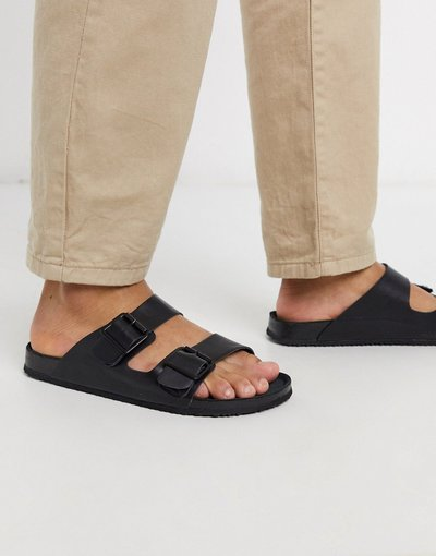 Sandali Nero uomo Sandali triplo nero con fibbia - ASOS DESIGN