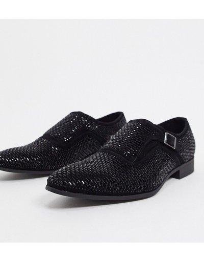 Scarpa elegante Nero uomo Scarp monk strap con strass neri e suola nera - ASOS DESIGN - Nero moda abbigliamento