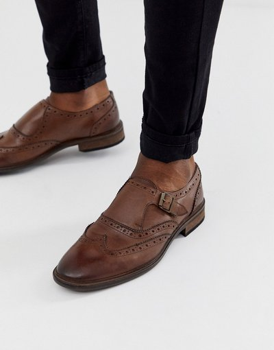 Scarpa elegante Marrone uomo Scarpe brogue con fibbia in pelle marroni - ASOS DESIGN - Marrone