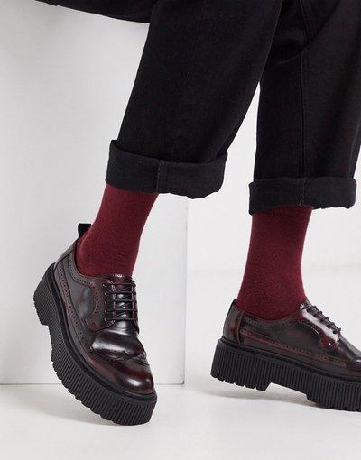 Scarpa elegante Rosso uomo Scarpe brogue in ecopelle rossa con suola spessa - ASOS DESIGN - Rosso