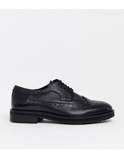 Scarpa elegante Nero uomo Scarpe brogue in pelle nera con suola spessa - ASOS DESIGN - Nero moda abbigliamento