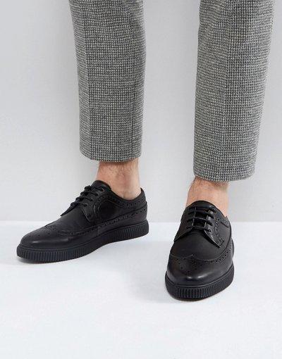 Scarpa elegante Nero uomo Scarpe brogue in pelle sintetica nera con suola creeper - ASOS DESIGN - Nero