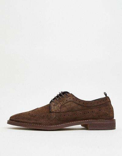 Scarpa elegante Marrone uomo Scarpe brogue stringate stile casual marrone scamosciato con suola a contrasto - ASOS DESIGN