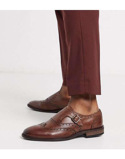 Scarpa elegante Marrone uomo Scarpe con fibbia a pianta larga in pelle marrone stile brogue - ASOS DESIGN