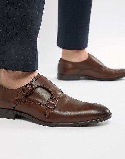 Scarpa elegante Marrone uomo Scarpe con fibbia in pelle marrone - ASOS DESIGN