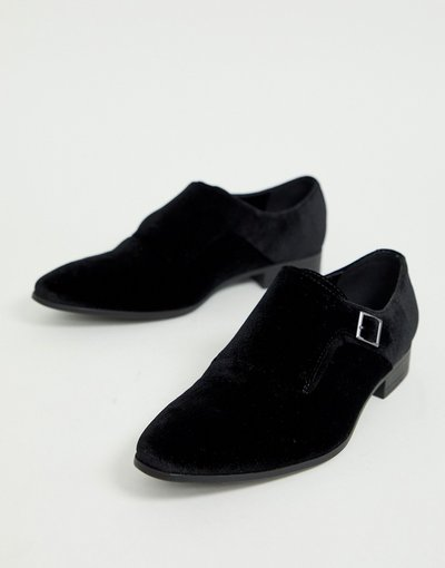 Scarpa elegante Nero uomo Scarpe con fibbia in velluto nero con suola nera - ASOS DESIGN