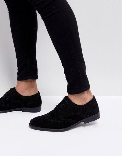 Scarpa elegante Nero uomo Scarpe derby brogue in camoscio enere - ASOS DESIGN - Nero moda abbigliamento