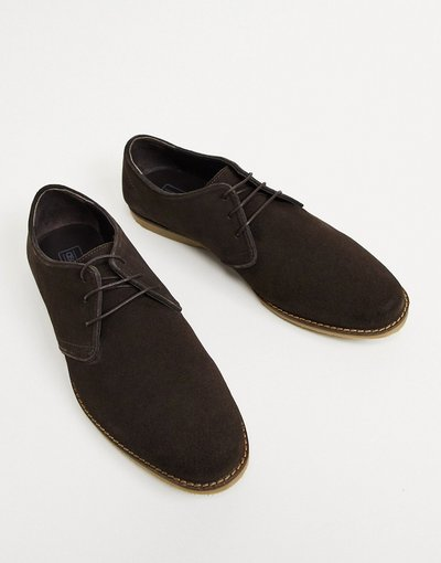 Scarpa elegante Marrone uomo Scarpe derby marrone scamosciato con bordi a contrasto - ASOS DESIGN