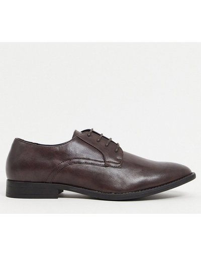 Scarpa elegante Marrone uomo Scarpe derby marroni in pelle sintetica - ASOS DESIGN - Marrone
