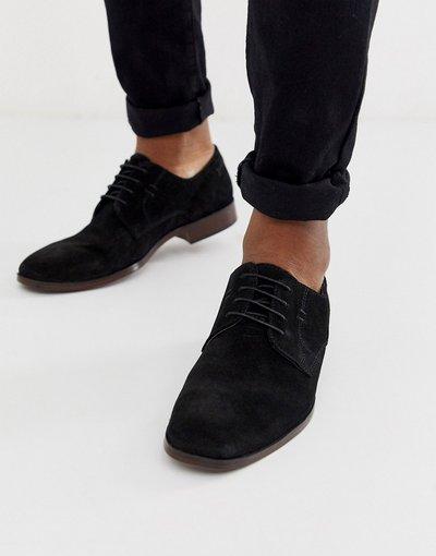 Scarpa elegante Nero uomo Scarpe derby nero scamosciato con suola in fibre naturali - ASOS DESIGN