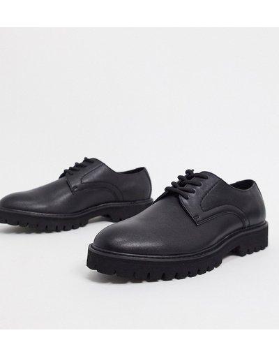 Scarpa elegante Nero uomo Scarpe Derby stringate in ecopelle nera con suola nera - ASOS DESIGN - Nero