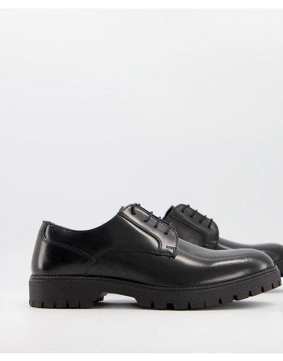 Scarpa elegante Nero uomo Scarpe Derby stringate in pelle nera con suola nera - ASOS DESIGN - Nero