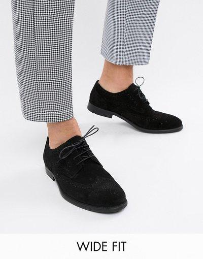 Scarpa elegante Nero uomo ASOS DESIGN Scarpe derby stringate pianta larga nero scamosciato