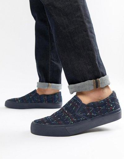 Blu uomo Scarpe di tela senza lacci in denim ricamato - ASOS DESIGN - Blu