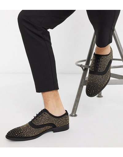 Scarpa elegante Nero uomo Scarpe eleganti stringate a pianta larga nere in velluto con borchie - ASOS DESIGN - Nero