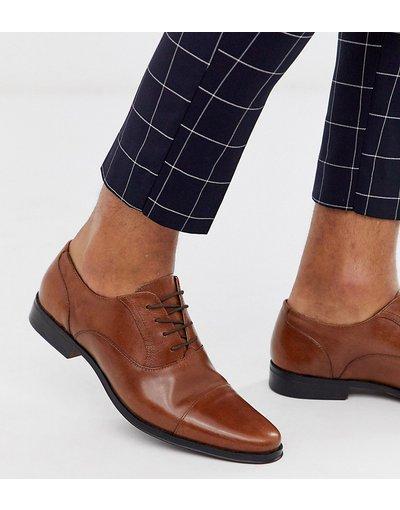 Scarpa elegante Cuoio uomo Scarpe Oxford pianta larga in pelle cuoio con punta - ASOS DESIGN