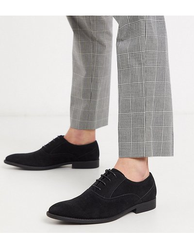 Scarpa elegante Nero uomo Scarpe Oxford pianta larga nere in camoscio sintetico - ASOS DESIGN - Nero