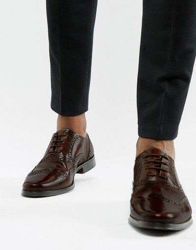 Scarpa elegante Marrone uomo Scarpe Oxford stringate in pelle marroni - ASOS DESIGN - Marrone