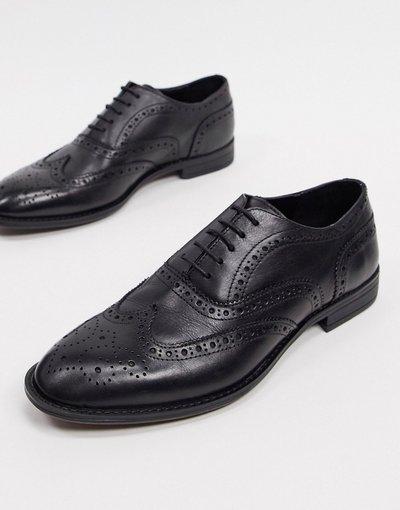 Scarpa elegante Nero uomo Scarpe Oxford stringate in pelle nera - ASOS DESIGN - Nero