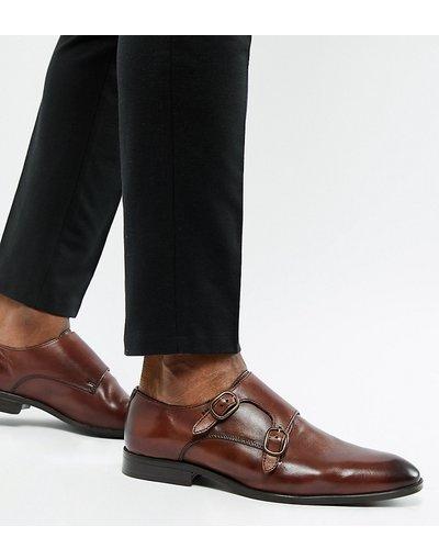 Scarpa elegante Marrone uomo Scarpe pianta larga con fibbie in pelle marrone - ASOS DESIGN