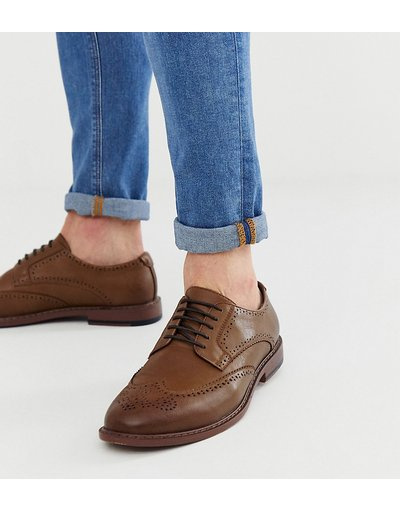 Marrone uomo Scarpe pianta larga stringate in pelle sintetica cuoio - ASOS DESIGN - Marrone