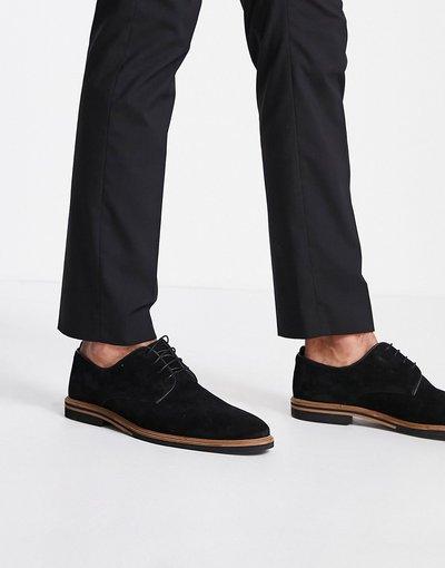 Scarpa elegante Nero uomo Scarpe stringate in camoscio nero con suola a contrasto - ASOS DESIGN