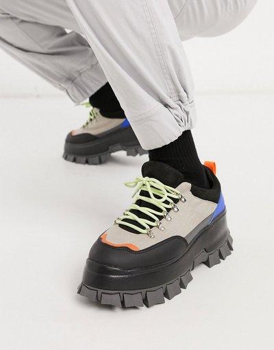 Novita Multicolore uomo Scarpe stringate in camoscio sintetico grigio pietra con suola spessa carrarmato - ASOS DESIGN - Multicolore
