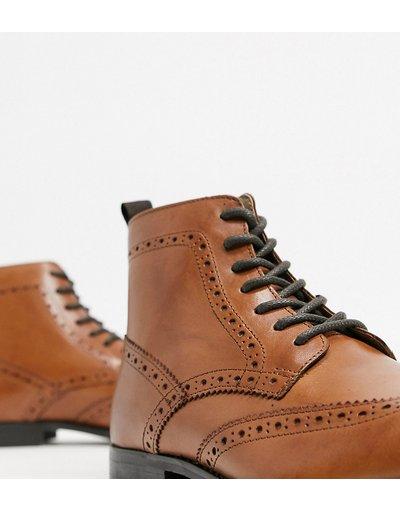 Scarpa elegante Cuoio uomo Scarpe stringate in pelle color cuoio a pianta larga con suola naturale - ASOS DESIGN