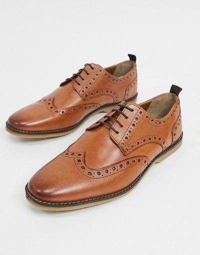 Scarpa elegante Cuoio uomo Scarpe stringate in pelle cuoio con suola in para sintetica - ASOS DESIGN