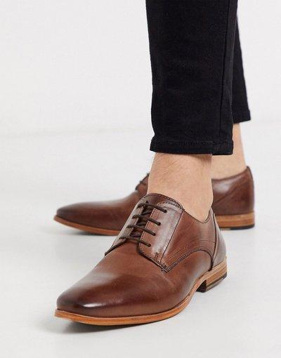 Scarpa elegante Marrone uomo Scarpe stringate in pelle marrone con suola naturale - ASOS DESIGN