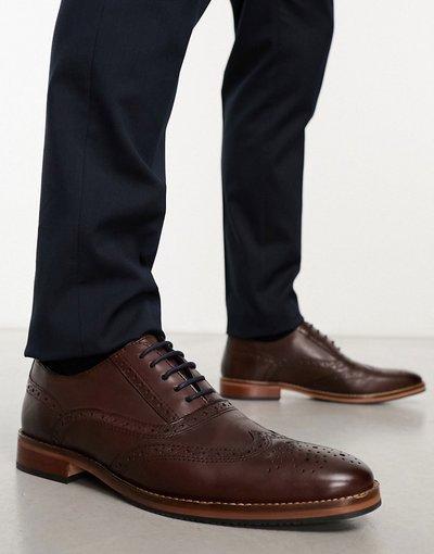 Scarpa elegante Marrone uomo Scarpe stringate in pelle marrone con suola naturale e dettagli colorati - ASOS DESIGN