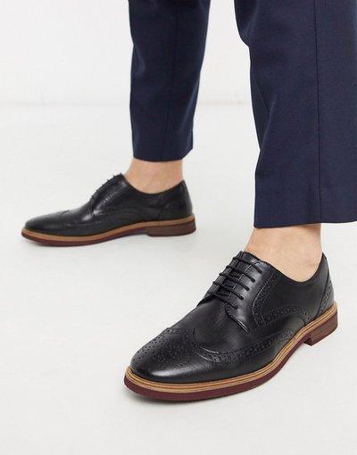 Scarpa elegante Nero uomo Scarpe stringate in pelle nera con suola a contrasto - ASOS DESIGN - Nero