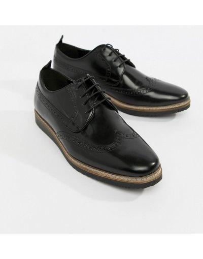 Scarpa elegante Nero uomo Scarpe stringate in pelle nera con zeppa - ASOS DESIGN - Nero