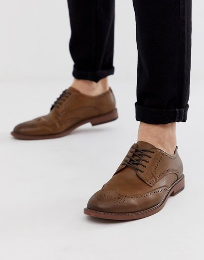 Stivali Marrone uomo Scarpe stringate in pelle sintetica color cuoio - ASOS DESIGN - Marrone