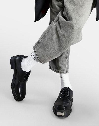 Novita Nero uomo Scarpe stringate in pelle sintetica nere con suola zigrinata - ASOS DESIGN - Nero