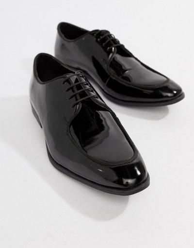Scarpa elegante Nero uomo Scarpe stringate in pelle sintetica verniciata nera - ASOS DESIGN - Nero