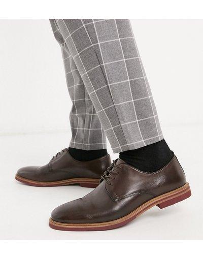 Scarpa elegante Marrone uomo Scarpe stringate marroni in pelle con suola a contrasto - ASOS DESIGN - Marrone