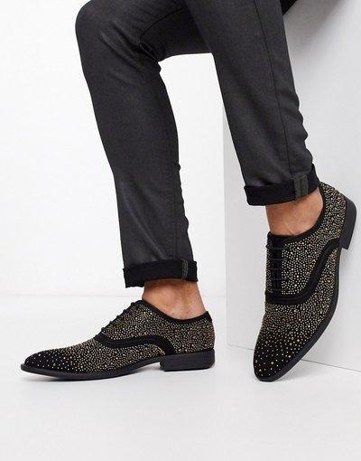 Scarpa elegante Nero uomo Scarpe stringate nere da abito con borchie - ASOS DESIGN - Nero