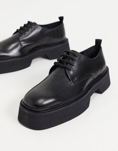 Novita Nero uomo Scarpe stringate nere in pelle colour block con punta squadrata e suola spessa - ASOS DESIGN - Nero